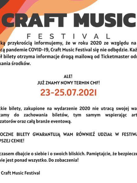img: Craft Music Festival – przeniesiony na 2021