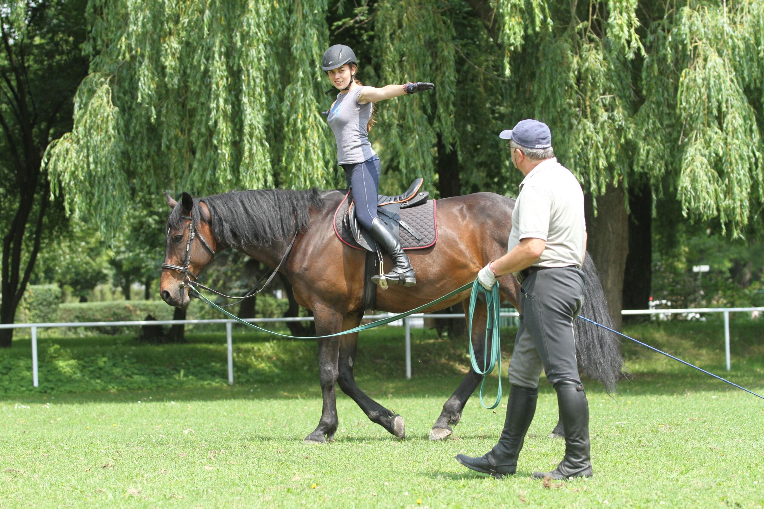 img: Nauka jazdy konnej na lonży na kucach (dzieci) i dużych koniach (dorośli)